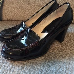 Michael Kors black patent leather heeled loafers